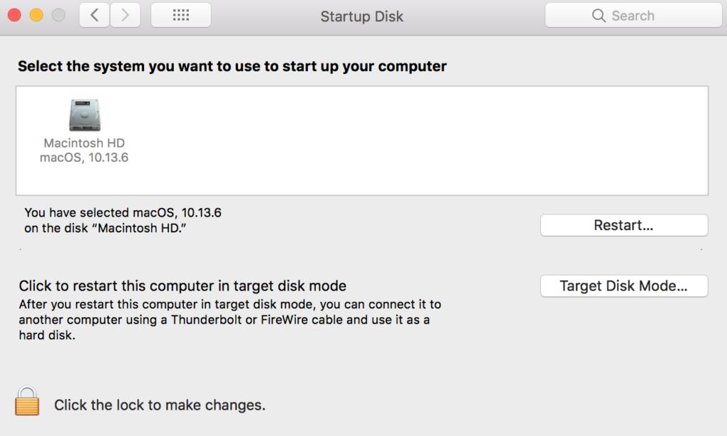 Startup Disk Restart