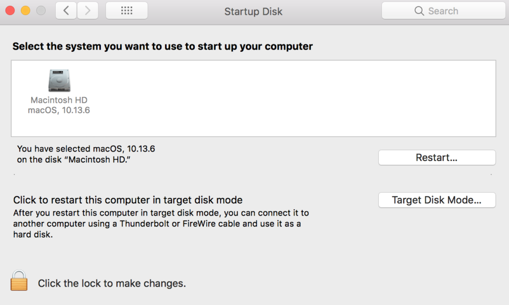 Mac Startup Disk in System Preferences
