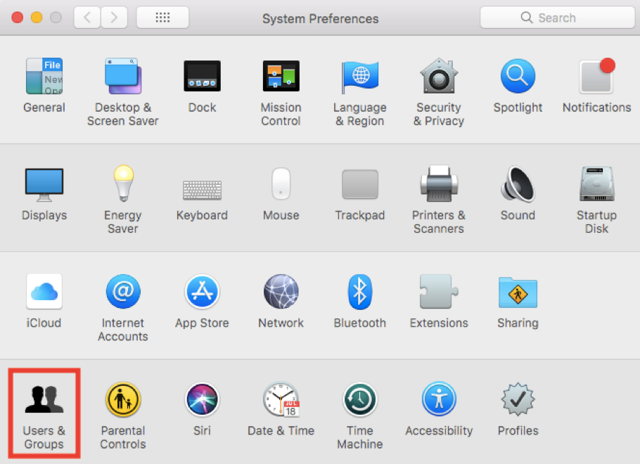 System Preferences-Users & Group