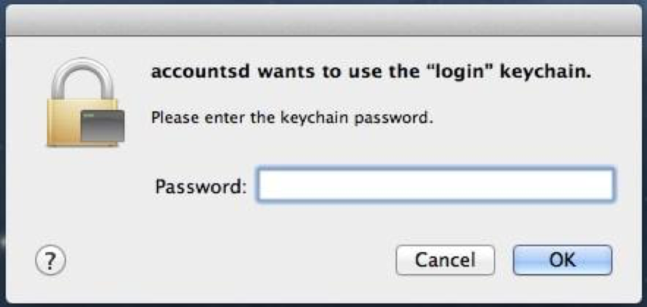accountsd wants to use the login keychain.