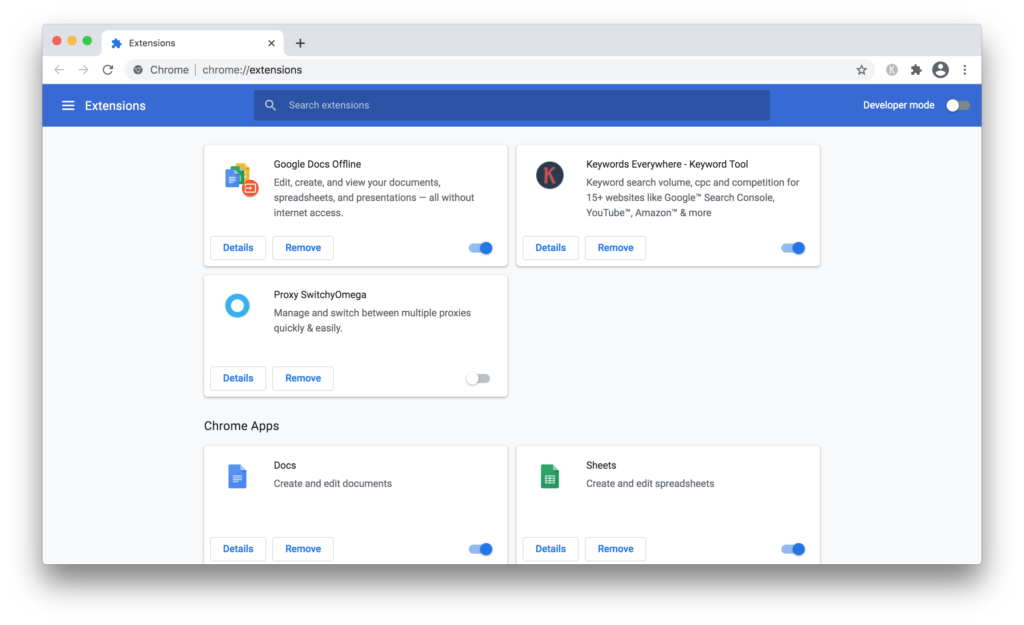 Check extensions installed in Google Chrome