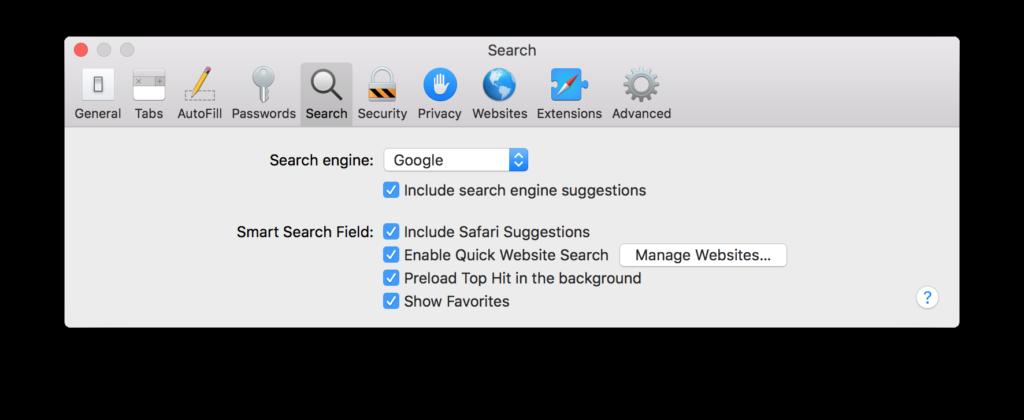 Check the default search engine for Safari