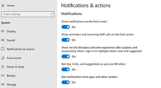 disable notification windows 10