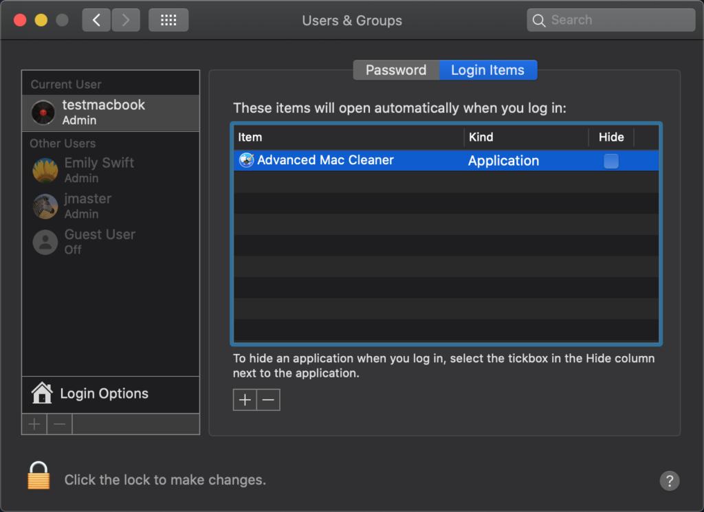 advanced mac cleaner login item