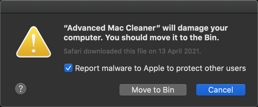 advanced mac cleaner alert