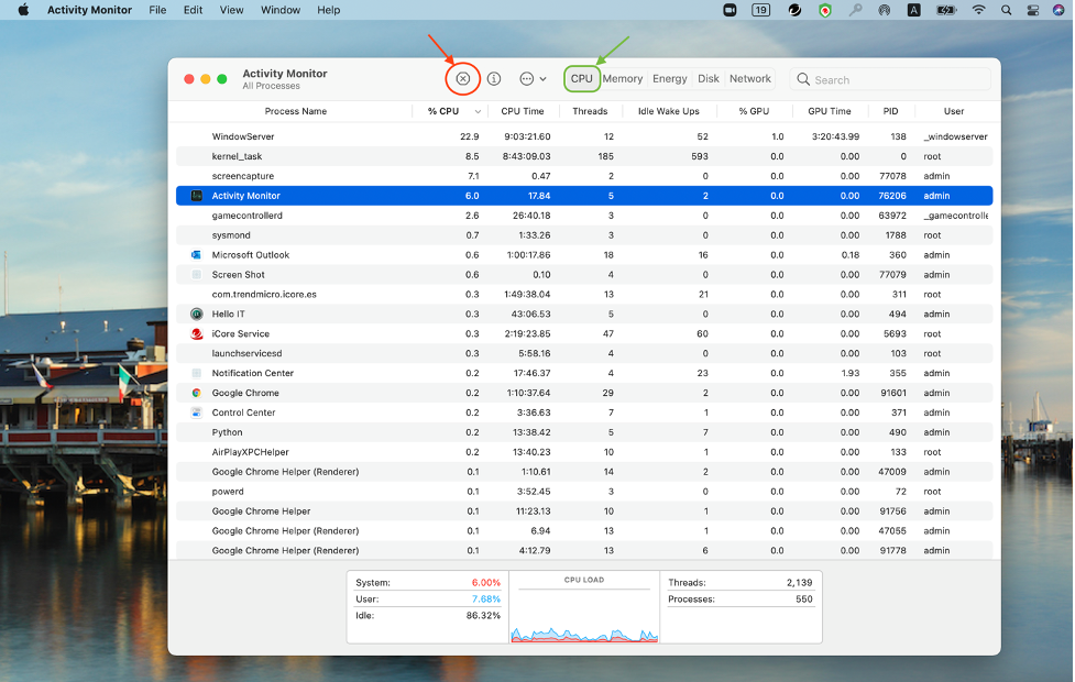 Close processes with Activity Monitor