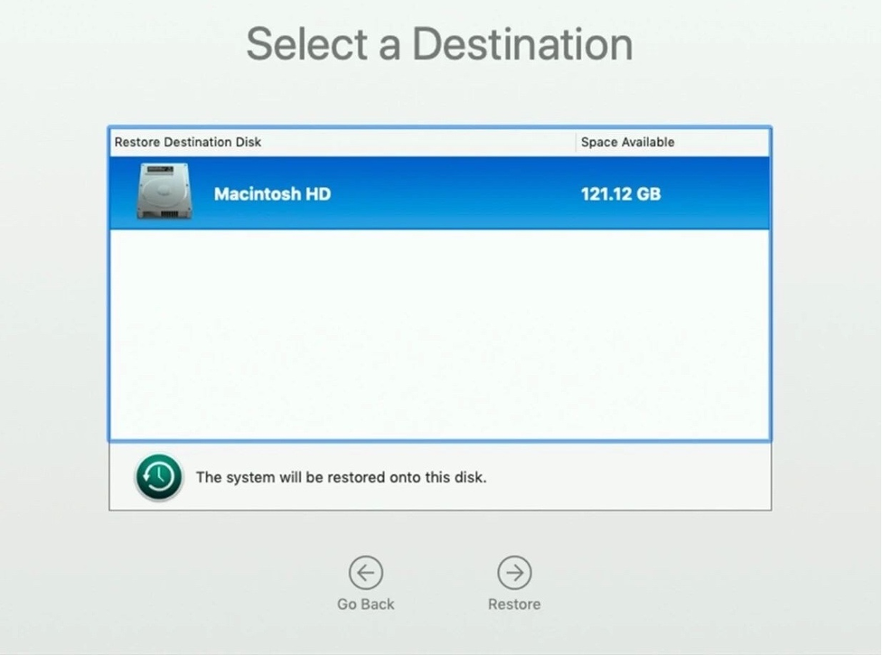 select a destination for the backup system