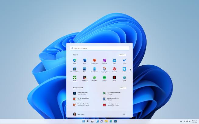 • Centered taskbar and new Start menu