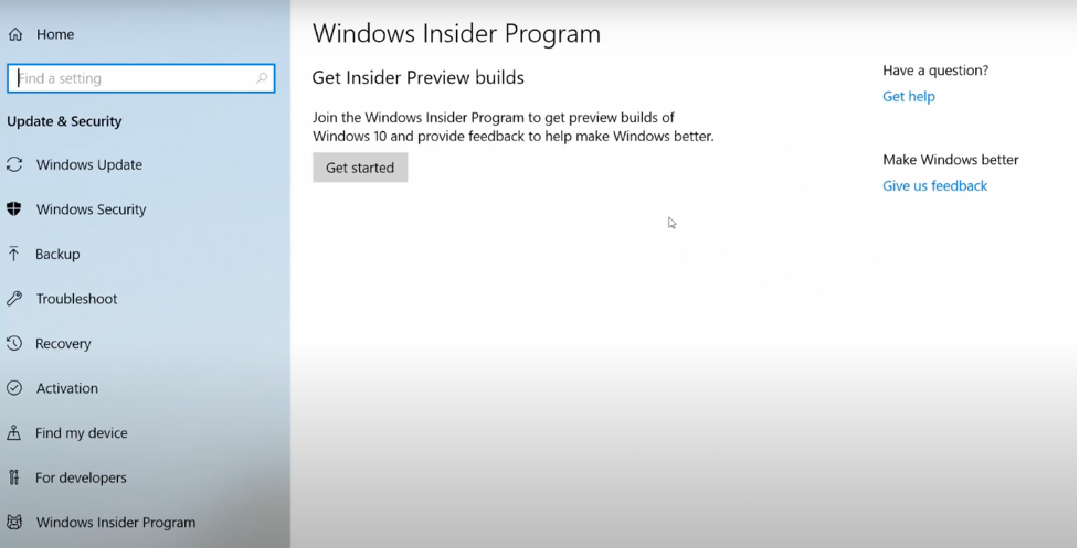 Type in Windows Insider Program in the search field of task bar.