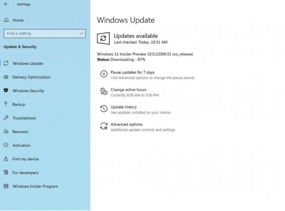 """5. Click on """"Windows Update"""" on the left side and check for update."""