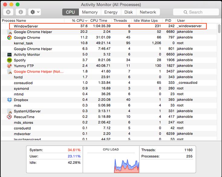 WindowServer high CPU usage
